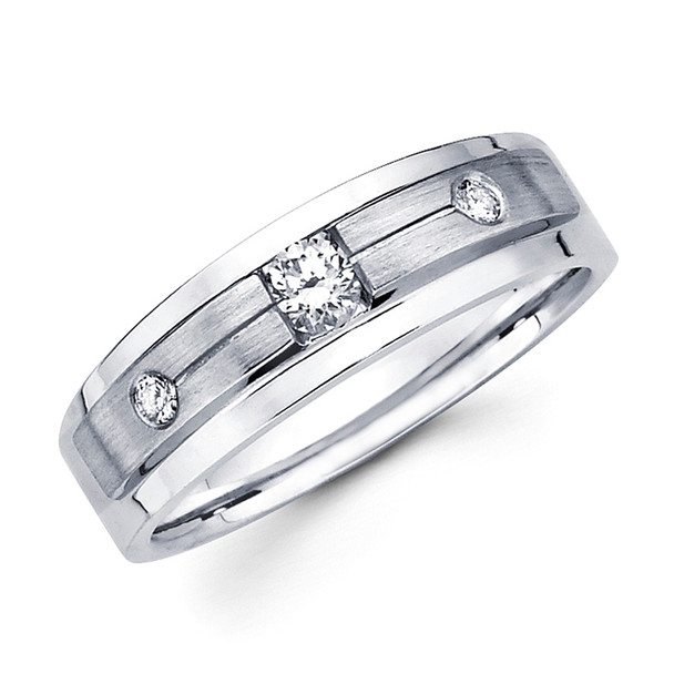 White gold wedding band with diamonds - BD1-14