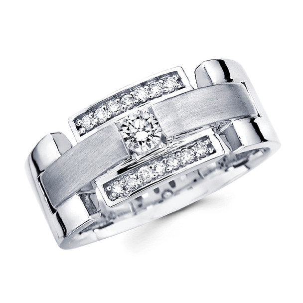 White gold wedding band with diamonds - BD1-1