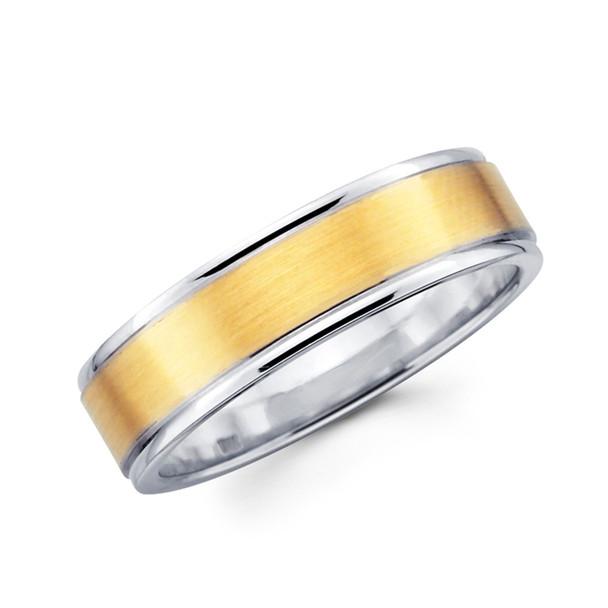 White & yellow gold wedding band - BC1-14