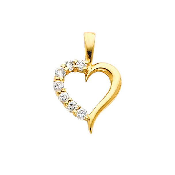Yellow Gold Pendant - 14 K - CZ  - PT689