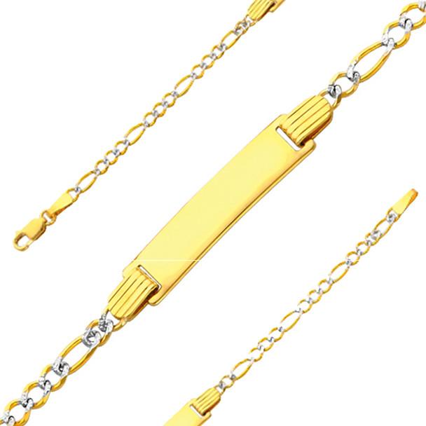 Yellow Gold ID Bracelet - 14 K  6 in - 2.5 gr. - AB106
