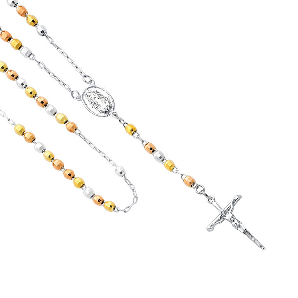 Silver Rosary Necklace - Coated Gold  - SSNK4
