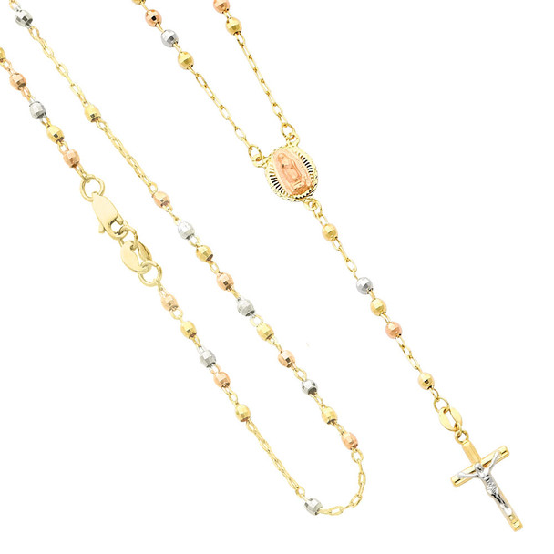 Yellow / White / Red Gold Rosary Necklace - 14 K - NK63