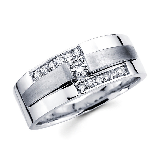 White gold wedding band with diamonds - BD1-4