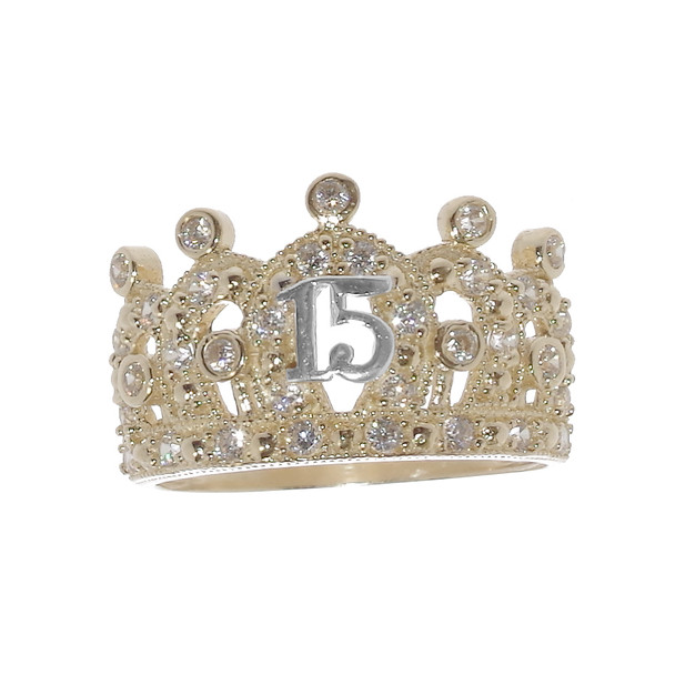 Forever 15 - Yellow Gold Ring with CZ - XVR-707