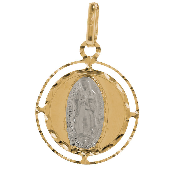 Yellow / White Gold Medal - Virgin Mary - 14 K - 1.2 gr. - RP024