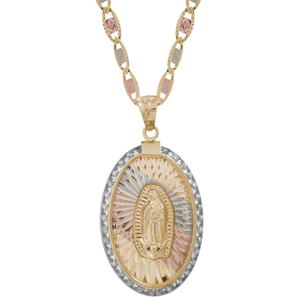 Yellow / White / Red Gold Medal - CZ - Virgen Guadalupe - 14 K - RP202