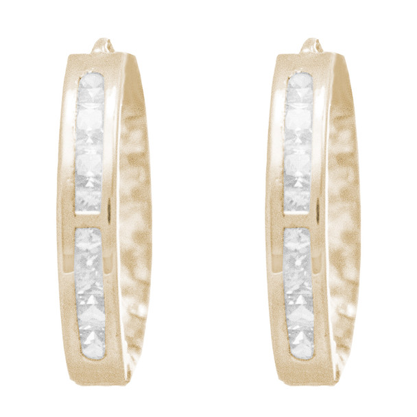 Yellow Gold Earrings - CZ - 14 K - ER351