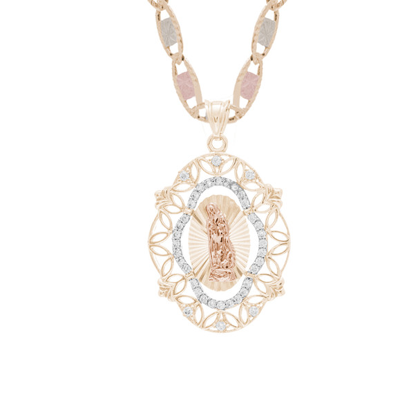 Yellow / White / Red Gold Pendant with CZ- 14K - MRD522