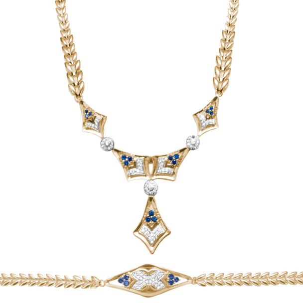Necklace and Bracelet Set  - Yellow Gold - 14 K - JST123