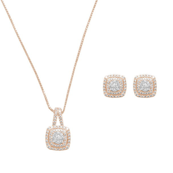 Diamond Necklace and Earring Set  - Rose Gold - 14 K - JST126