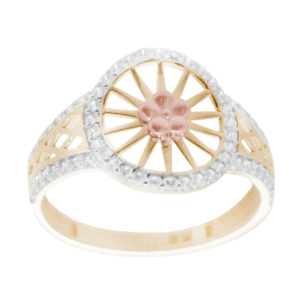 Yellow, Red & White  Gold Ring with CZ - 14 K - RGO261