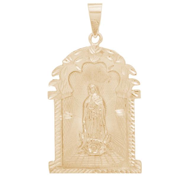 Yellow Gold Virgin Mary Pendant - 14 K - PTR556  14 K.  14.7 gr.