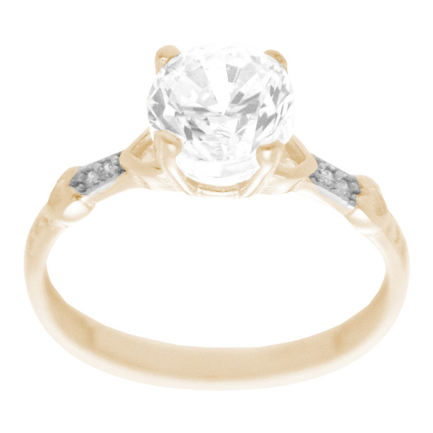 Yellow & White  Gold Ring with CZ - 14 K - RGO322  Yellow & White Gold ring decorated with CZ.  14K   2.1 gr