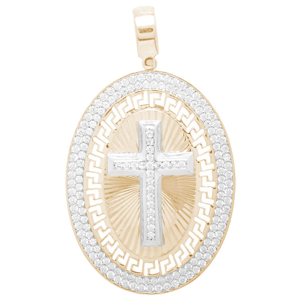 White / Yellow Gold Cross Medal - 14 K - RP267  decorated with CZ  14 K.   8.5 gr.