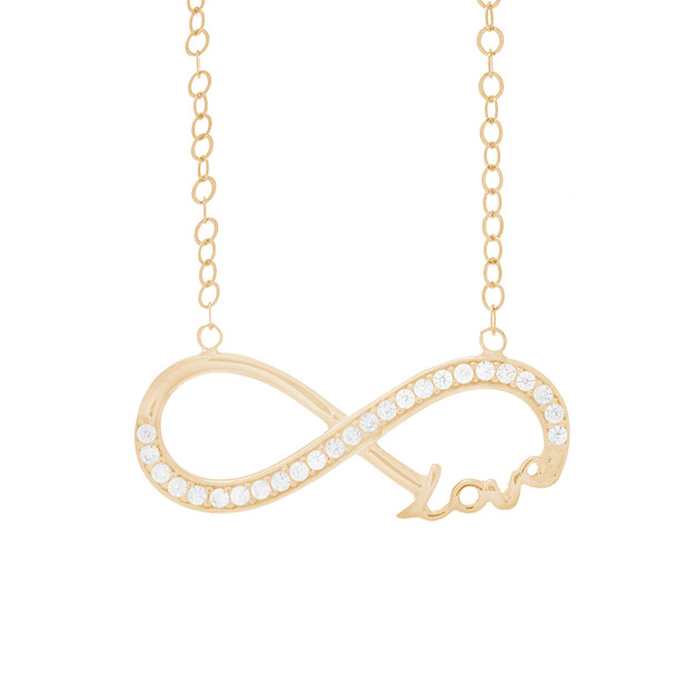 Necklace and Pendant Set  - CZ - 14 K - JST337  Necklace and infinite love Pendant Set  14 K. | 3.1 gr.  For more info call us at: 773-342-1226