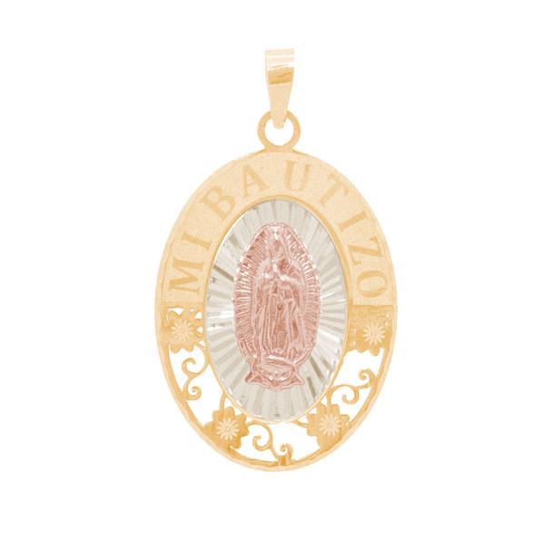 Three Gold Baptism Medal - Virgin Mary - 14 K - BPT671
