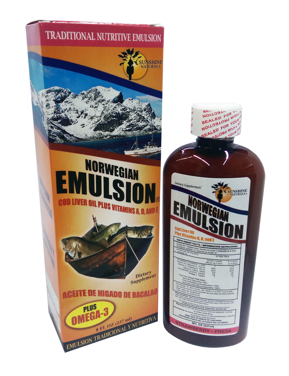 Norwegian Emulsion Cod Liver Oil + Omega 3 Strawberry Flavor