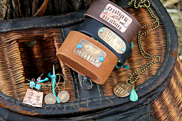 """RRH Cowgirl Relics """"Fly Girl"""" Handmade Leather Cuff"""