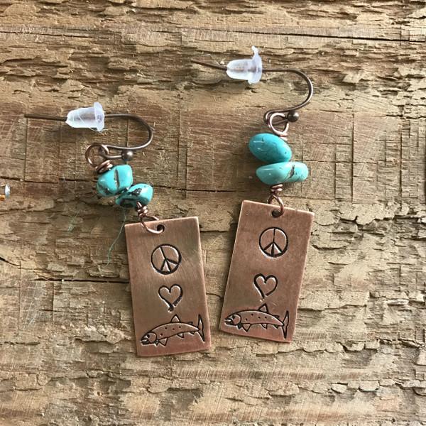 Peace. Love. Trout. Earrings