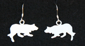 Sterling Silver Border Collie Earrings