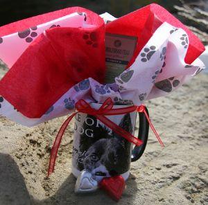 "Valentine ""Beware of the Dog"" Coffee or Tea Mug Gift Set by Vickie Atkins Close"