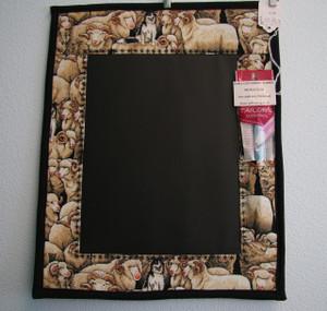 Chalk Memo Board - Sheep and Border Collie in Black