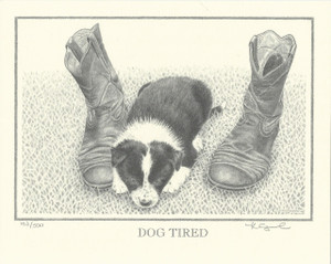 Dog Tired - double matted Print