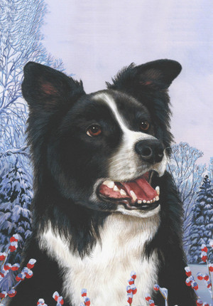 Winter Berry Border Collie Garden Flag