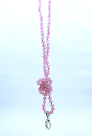 Pink Rose Quartz Beaded Lanyard