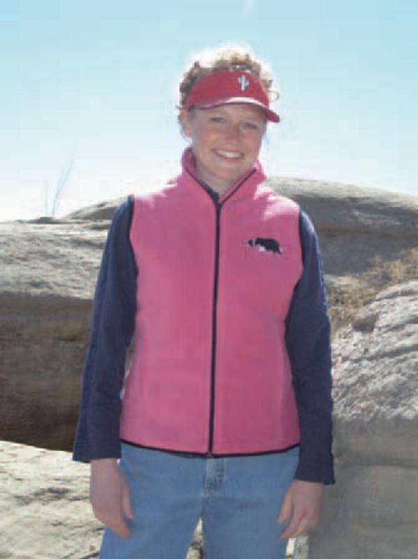 Raspberry Fleece Vest with Border Collie