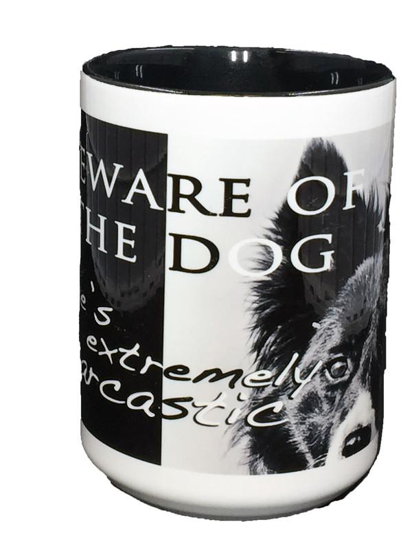 """""""Beware of the Dog"""" Mug by Vickie Atkins Close"""