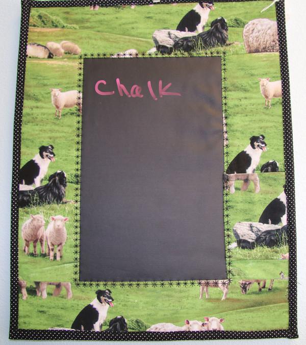 Chalk Memo Board - Green Border Collie and Sheep