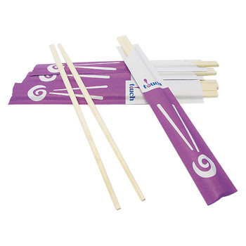 "Touch - 80-852 - Wooden Chopsticks 8"" Partially Paper Wrapped - 4000 Pairs / Case"