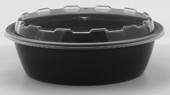 Cube - CO-624 - 24 oz Microwavable Black Round Container Base + Clear Lids - 150 Sets