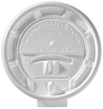 International Paper - LHRL-8 - 8 oz White Flat Lock Back Lid - 1000/cs