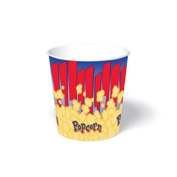 International Paper - SFR-130 - 130 oz Popcorn Paper Bucket, Popcorn Design - 300/cs