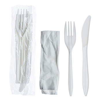 Touch - 91-989 - 3pcs White Meal Kit (Knive, Fork, Napkin) - 500/case