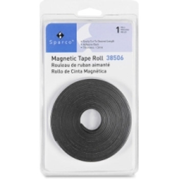 "Sparco - 38506 Magnetic Tape Roll - 0.50"" (12.7 mm) Width x 10 ft (3 m) Length - Flexible, Magnetic - 1 Each - Black"