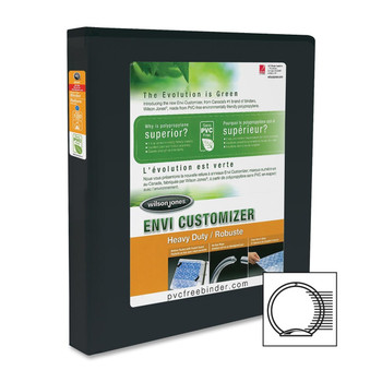 "Wilson Jones Heavy Duty Customizer Round Ring Binder - 1/2"" Binder Capacity - Sheet Size100 Sheet Capacity - Round Ring Fastener - Black - 1 Each"