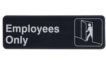 "Winco - SGN-305 - 3""X9"" Employee Only Sign - 1 Unit/Each"