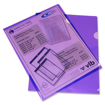 "VLB Poly View Folder - Letter - 8 1/2"" Width x 11"" Length Sheet Size - Polypropylene - Violet - 10 / Pack"