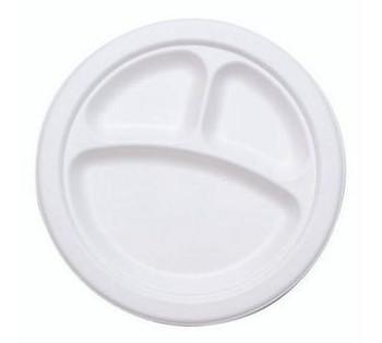 """Darnel - DU5010103 - 10.25"""" 3-Compartment Foam Plate, White, 500/case"""