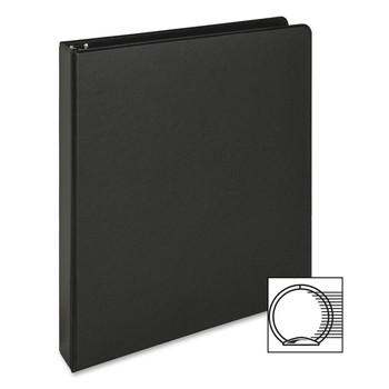 "Business Source - Vinyl Ring Binder - 1"" Binder Capacity - Letter - 8 1/2"" Width x 11"" Length Sheet Size - 3 x Round Ring Fastener - Vinyl - Black - 1 Each"