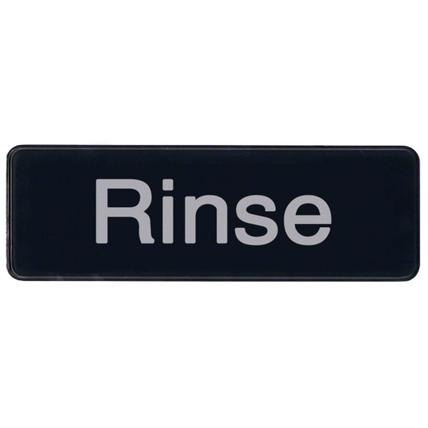 "Winco SGN-327 Rinse Sign - Black and White, 9"" x 3"""