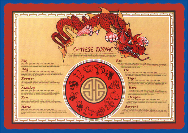 Sanfacon - 12038 - Chinese Zodiac Placemats - 1000/Pack