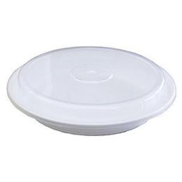 """Maple Leaf - 24 oz - 7"""" Microwaveable White Round Container + Clear Lid - 150 Sets"""