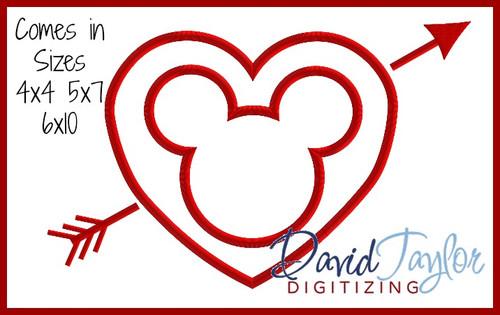 valentine heart arrow mr mouse machine applique embroidery design