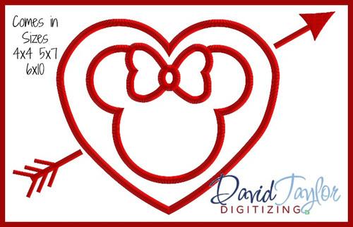 valentine heart arrow miss mouse machine applique embroidery design