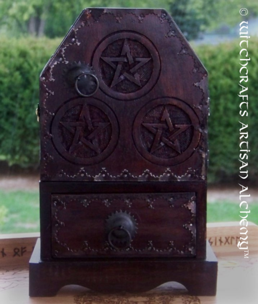 Medieval Pentagram Herb Cupboard Chest